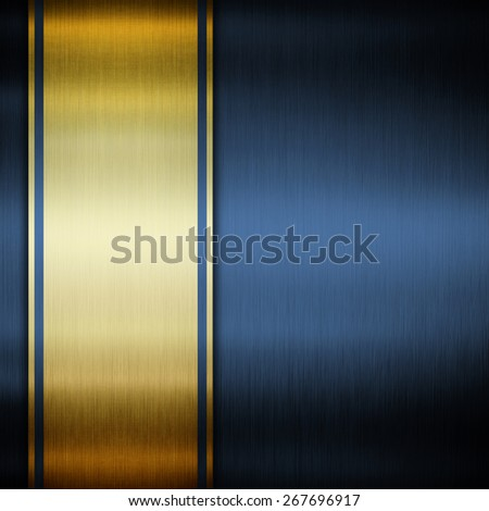abstract background with golden ribbon on dark blue - stock photo