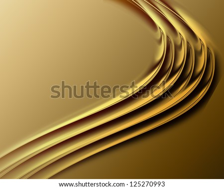 abstract background with golden with smooth lines - stock photo