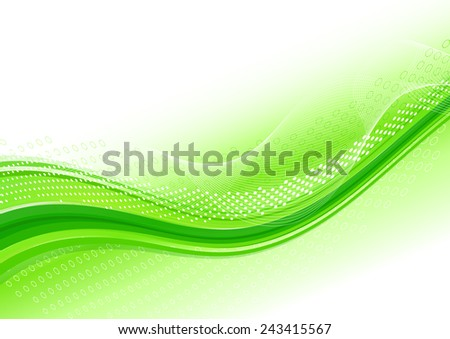 Abstract background with green wave. Raster version - stock photo
