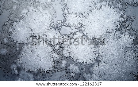 Abstract background with Ice crystals on the window glass - stock photo