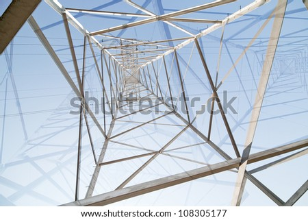 abstract background with inside of steel pylon - stock photo