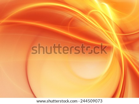 Abstract background with light orange and yellow warm curves lines. Vibrant digital artwork for creative design. Bright smooth image for desktop, poster, cover, booklet, flyer. Fractal art - stock photo
