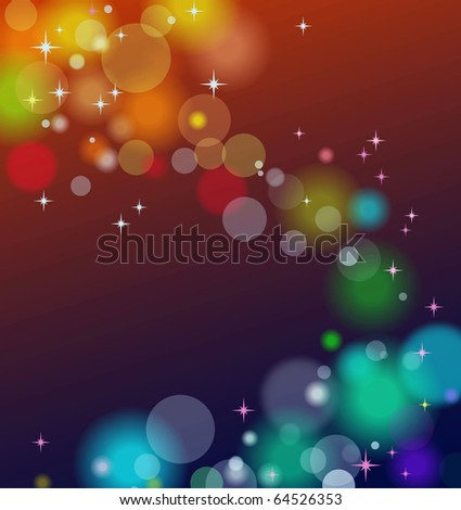 Abstract background with lights and stars - stock photo