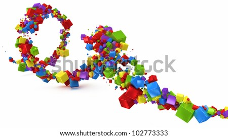 abstract background with multicolored 3d cubes - stock photo