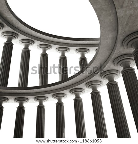 abstract background with Old columns is ancient style. High resolution Realistic 3D illustration sepia toned - stock photo