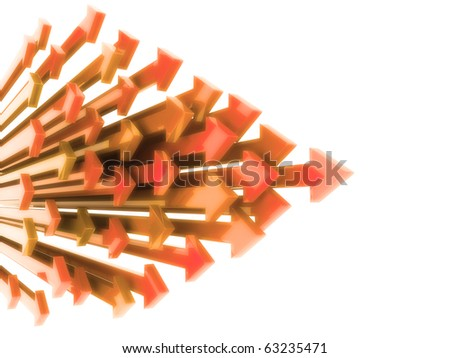 Abstract background with orange arrows in motion on white - stock photo
