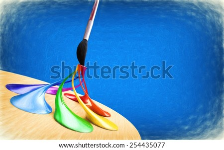 Abstract background with palette and brush. 3d render with paint effect. - stock photo