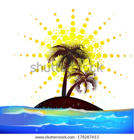 Abstract background with palm sun and sea. Raster - stock photo