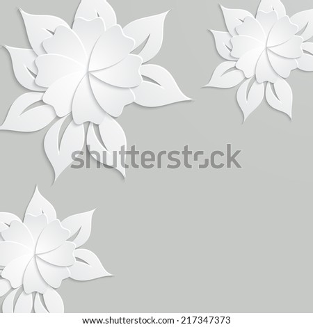 Abstract background with paper flowers. Raster version. - stock photo