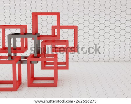 Abstract background with red and white cubes union concept - stock photo