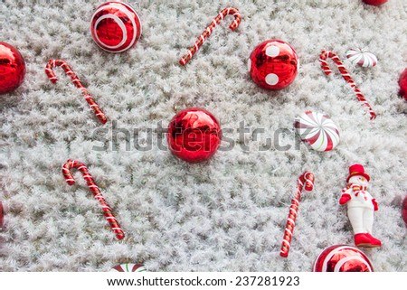 Abstract background with red christmas balls - stock photo