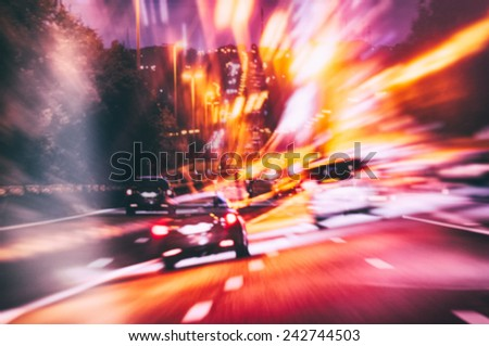 Abstract background with road in night city - stock photo