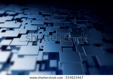 Abstract background with shiny metallic 3d cube technology background - stock photo