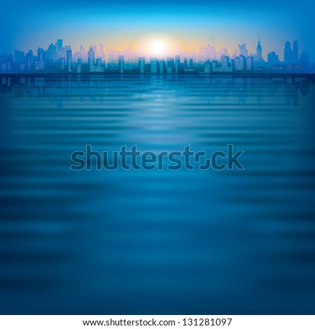 abstract background with silhouette of city and sunrise - stock photo