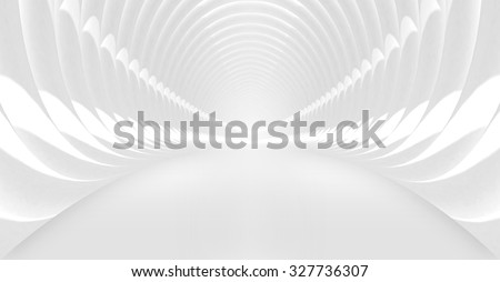 Abstract background with symmetric white shining tunnel interior. 3d illustration - stock photo