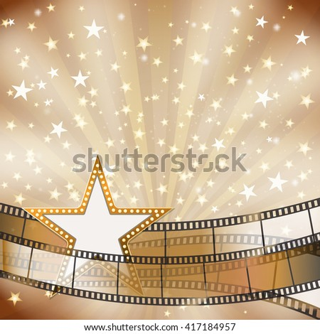 abstract background with transparent film strips and star frame with light bulbs. raster - stock photo