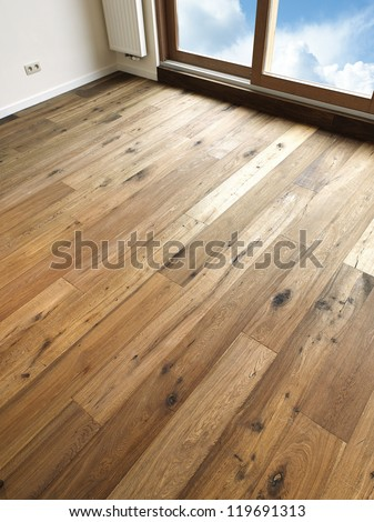 Abstract Background Wooden Floor Boards, there is a path for windows - stock photo