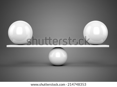 Abstract balance and harmony concept. White glossy balls on plank over gray background. - stock photo