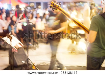 abstract band musician on street, motion blur concept - stock photo