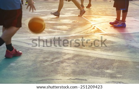 abstract basketball players in the park, pastel and blur concept - stock photo