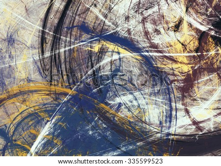 Abstract beautiful blue and yellow soft color background. Dynamic painting texture. Modern futuristic pattern. Fractal artwork for creative graphic design - stock photo
