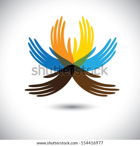 abstract beautiful flower with petals as colorful hands. This graphic illustration consists of human hands together showing concepts of community unity, people alliance, etc - stock photo