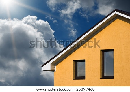 abstract beautiful house under blue sky - stock photo