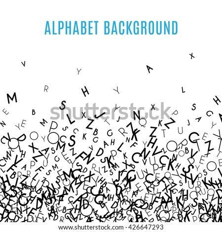 Abstract black alphabet ornament border isolated on white background. illustration for education, writing, poetic design. Random letters fall below. Alphabet book concept for grammar school. - stock photo