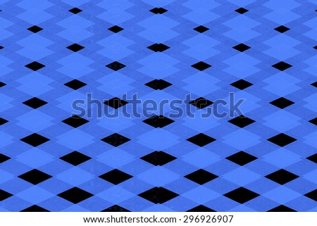 Abstract black and blue diamond pattern  - stock photo
