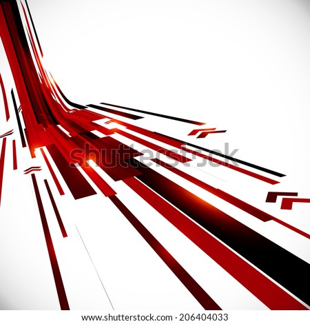 Abstract black and red perspective vector techno background - stock photo