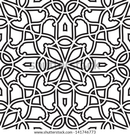 Abstract black and white background, geometric seamless pattern, raster version - stock photo