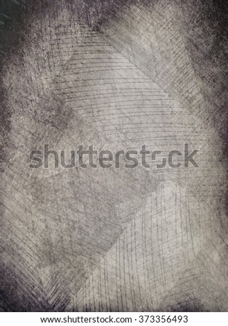 abstract black and white background with geometric shapes in gray and white with black rough vignette border, and vintage distressed texture, with overlay of scratch marks or brush stroke pattern - stock photo