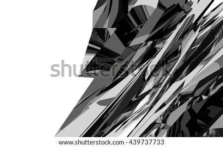 Abstract black and white geometric pattern. 3d render illustration. Copyspace - stock photo