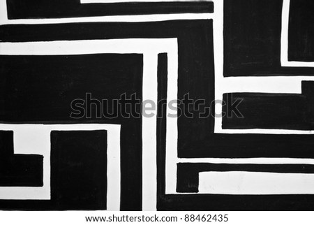 Abstract black and white painted background - stock photo