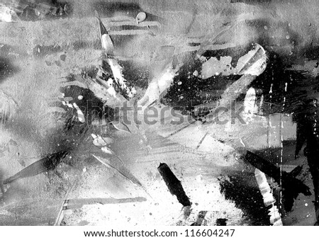 Abstract black and white painting on grunge paper texture. - stock photo