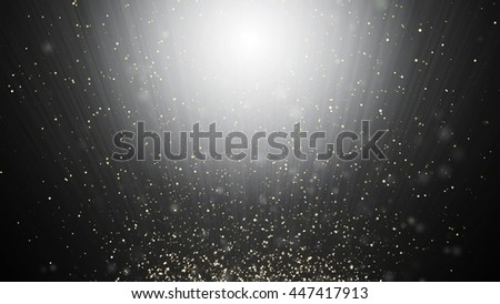 Abstract black and white swirl waves background flying particles in light beams - stock photo