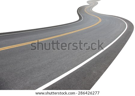 Abstract black asphalt winding Road transport going to the distance with yellow line drawing separated two way of forward and backward, isolated on white background.  This has clipping path. - stock photo