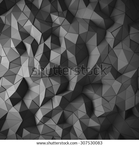 Abstract black 3D geometric polygon facet background mosaic made by edgy triangles - stock photo