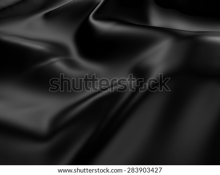 Abstract Black  Silk Satin Cloth Background. 3d Render Illustration - stock photo
