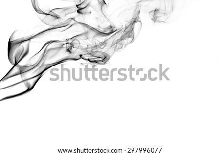 Abstract black smoke on white background, smoke background,black ink background - stock photo