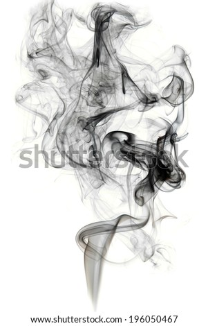 Abstract black smoke swirls over white background - stock photo