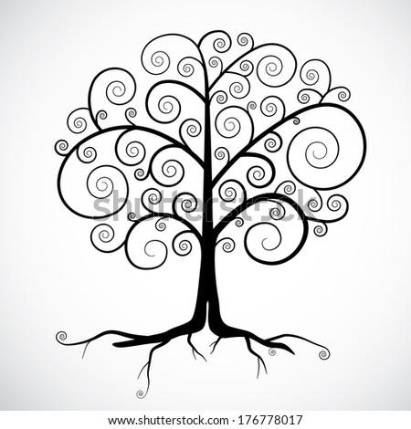 Abstract Black Tree Illustration Isolated on Light Grey Background - stock photo