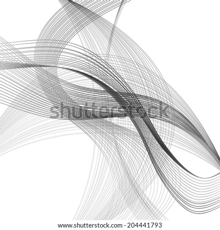abstract black wave black line on white background raster - stock photo