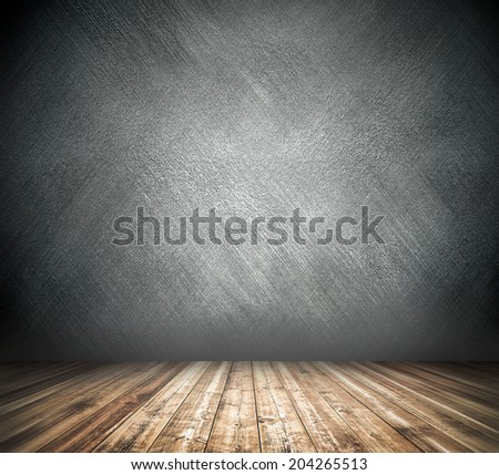 Abstract blank board background texture with old weathered dark stucco black paint stone cement wall in rural room Grungy cold rock surface in hard grime empty place with wood panel light brown floor - stock photo
