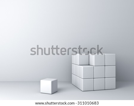 Abstract blocks on white wall background one unique - stock photo