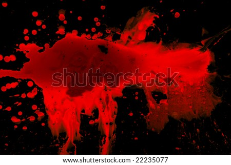 Abstract blood on black background - stock photo