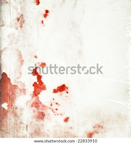 Abstract bloody stained paper background with red stains and scratches - stock photo