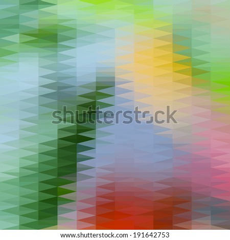 Abstract blue and green defocused background with geometric triangular ornament. Raster version - stock photo