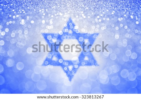 Abstract blue and white Jewish Hanukkah Star of David Israel sparkle glitter background - stock photo