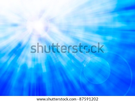 Abstract blue background burst out with sun flare - stock photo